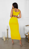 Playing With Fire Red Under Boob Sleeveless Scoop Neck Crop Top Two Piece Bodycon Casual Maxi Dress