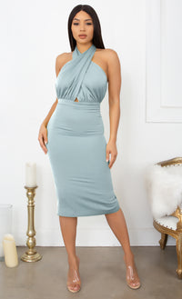 Your Dream Girl Teal Blue Sleeveless Pleated Ruched Cross Wrap Halter Neck Bodycon Midi Dress