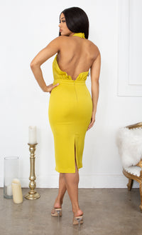 Your Dream Girl Chartreuse Yellow Sleeveless Pleated Ruched Cross Wrap Halter Neck Bodycon Midi Dress