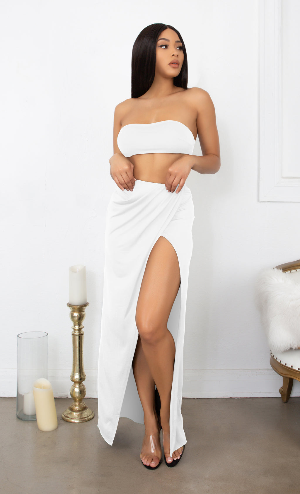 Inner Love White Crop Top Bandeau Strapless Slit Wrap Skirt Two Piece Maxi Dress Set