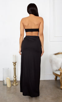 Inner Love Black Crop Top Bandeau Strapless Slit Wrap Skirt Two Piece Maxi Dress Set
