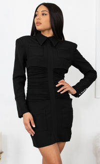 Talk Business Black Long Sleeve Ruched Waist Shirt Collar Bodycon Mini Dress