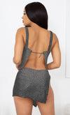 Check Your Temperature Silver Rhinestone Diamanté Metal Mesh Crystal Sleeveless Backless Crop Top Side Tie Mini Two Piece Dress