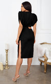 Model Mentality Black Statement Shoulder Pad Ruched Sleeveless Slit Bodycon Tee Shirt Cut Out Mini Dress