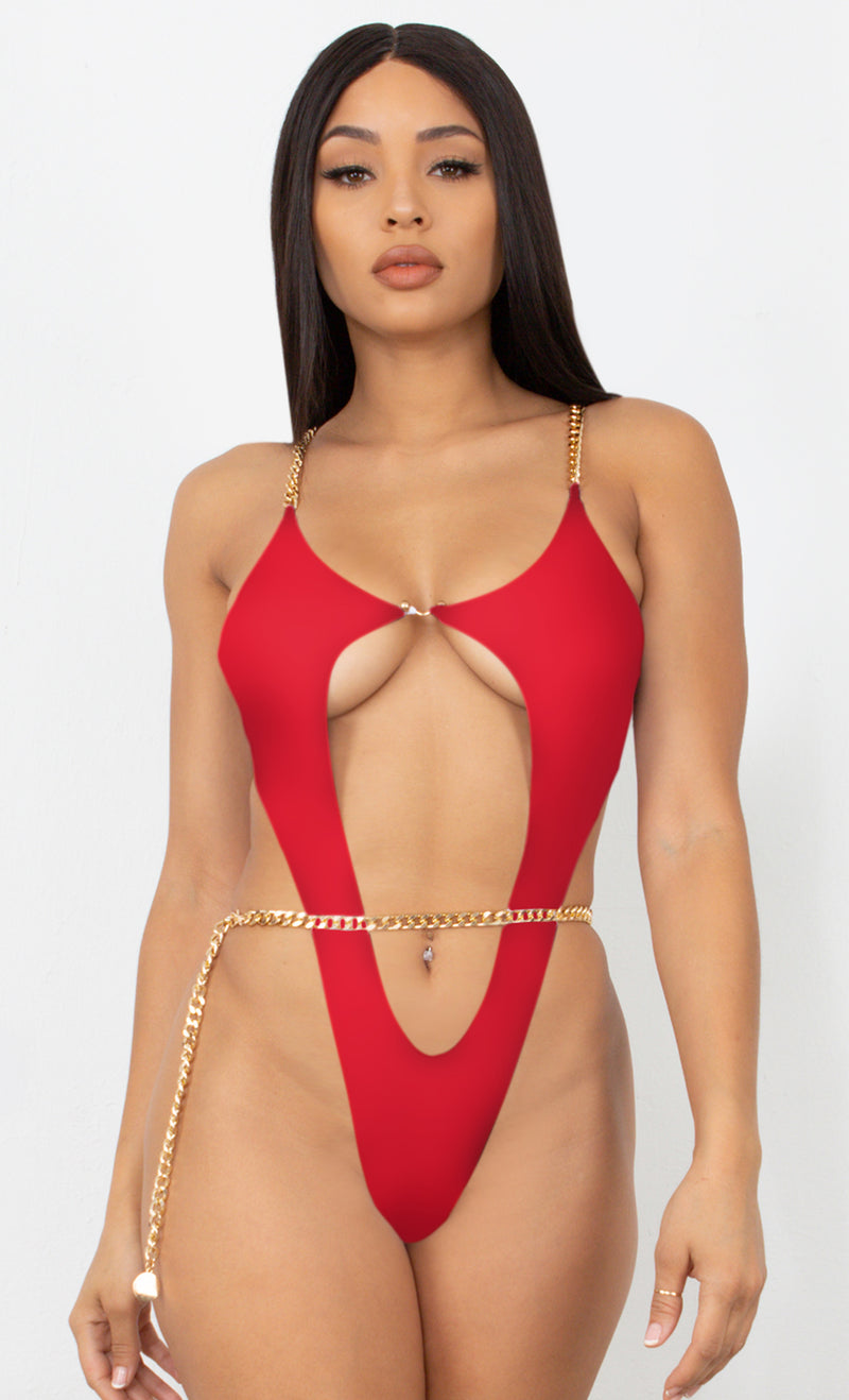 Fit Right In My Hands Neon Pink Gold Chain Spaghetti Straps Cut Out Brazilian High Leg Monokini One Piece Swimsuit