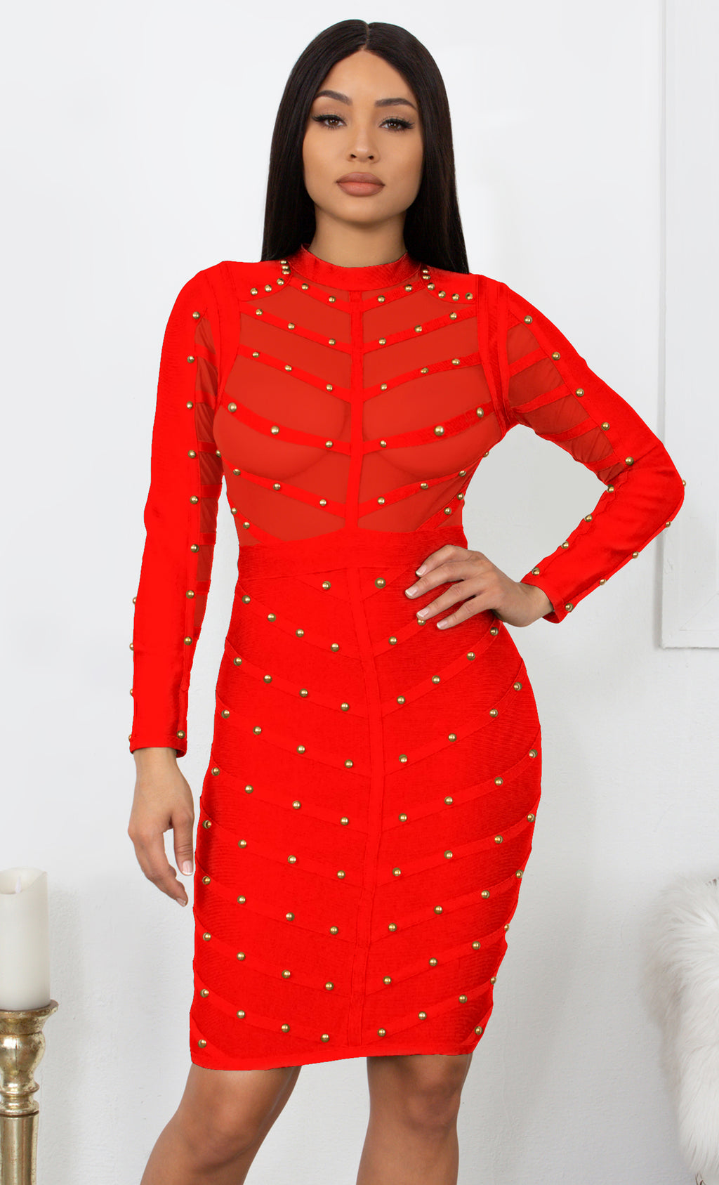 Secret Fantasy Red Studded Long Sleeve Sheer Mesh Stripe Crew Neck Bodycon Bandage Midi Dress