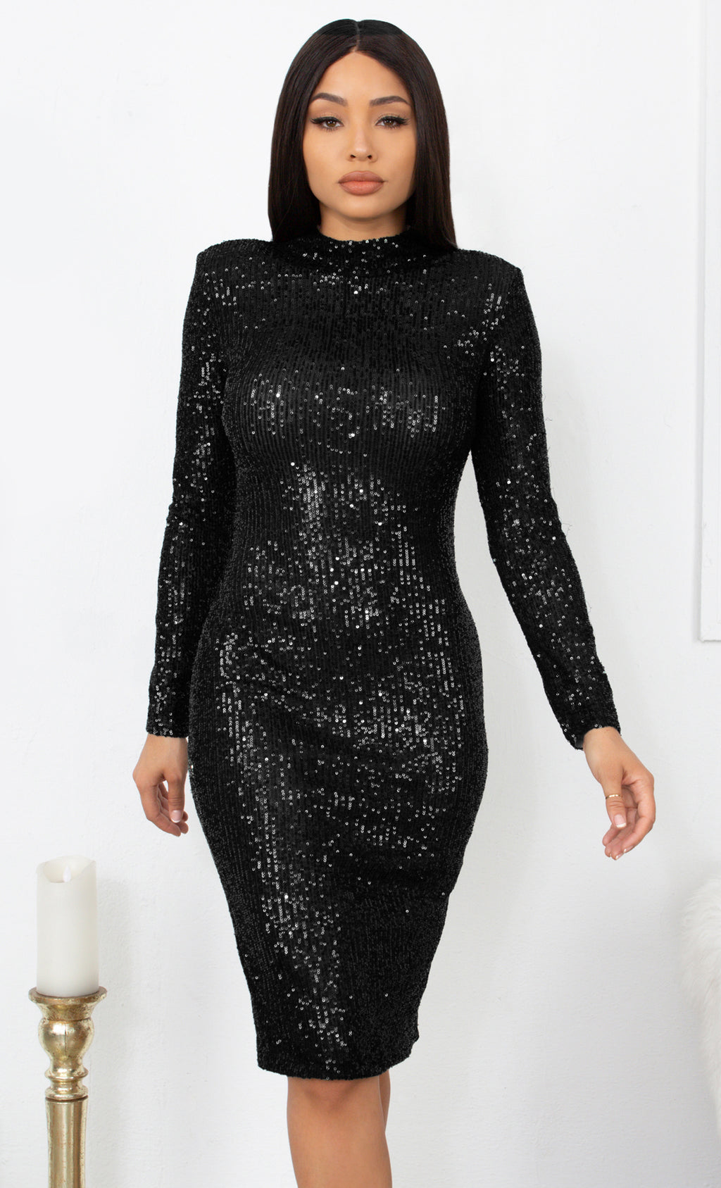 Late Night Love Black Sequin Long Sleeve Mock Neck Bodycon Midi Dress