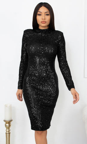 Meet The Moment Silver Sequin One Shoulder Pad Long Sleeve Ruched Midi Bodycon Dress - 3 Colors Available