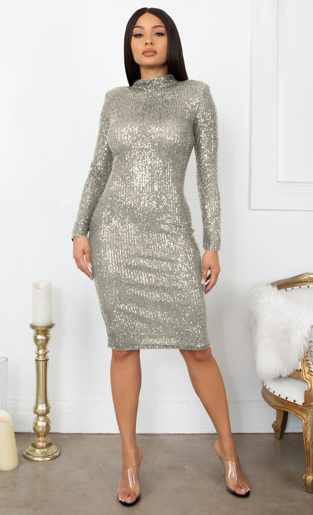 Late Night Love Silver Sequin Long Sleeve Mock Neck Bodycon Midi Dress