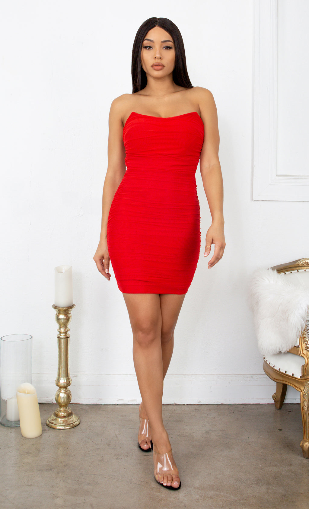 Never Giving You Up Red Bandage Strapless Mesh Draped Pointy Neck Ruched Body Con Mini Dress