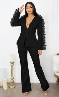Business As Usual Black Long Sleeve Mesh Ruffled Plunge V Neck Blazer Jacket Wide Leg Pant Two Piece Jumpsuit Set