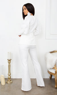 Business As Usual White Long Sleeve Mesh Ruffled Plunge V Neck Blazer Jacket Wide Leg Pant Two Piece Jumpsuit Set