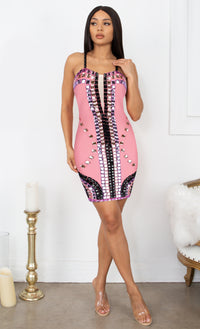 Famous Curves Pink Black Multicolor Mesh V Neck Embellished Beaded Gem Bandage Spaghetti Strap Body Con Mini Dress