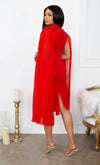 Ladies Choice Red Cape Pleated Sleeveless Chiffon V Neck Cross Wrap Waist Ruched Body Con Midi Dress