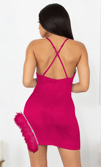 Sparkle Delight Fuchsia Pink Satin Rhinestone Spaghetti Strap Sleeveless Fringe Feather Bodycon Mini Dress