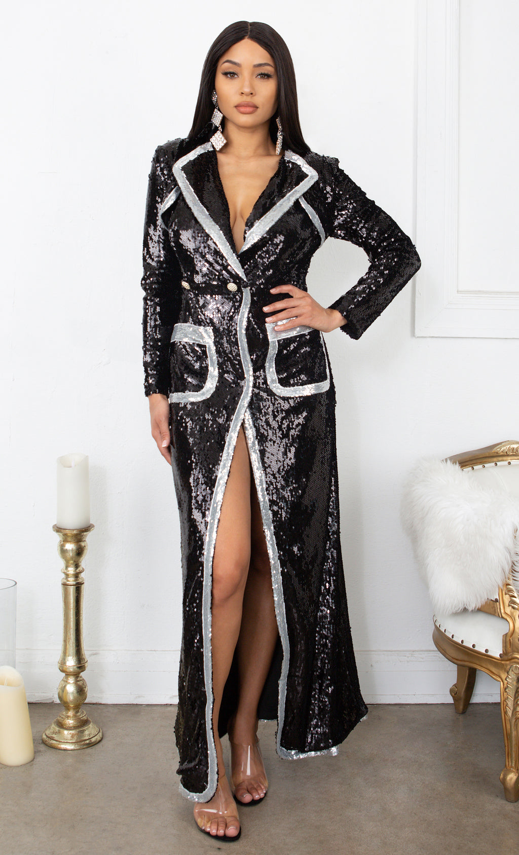 Take Charge Black Silver Sequin Long Sleeve Wrap Plunge V Neck High Slit Duster Coat Pockets Button Maxi Dress