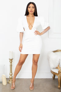 In My Suite White Puff Long Sleeve Mesh Sheer Sleeve Deep V Neck Cut Out Backless Bodycon Mini Dress