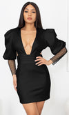 In My Suite Black Puff Long Sleeve Mesh Sheer Sleeve Deep V Neck Cut Out Backless Bodycon Mini Dress