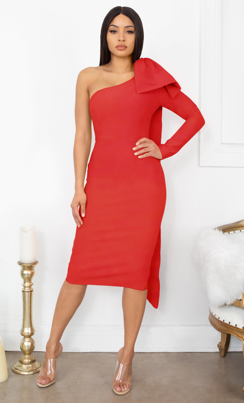 Luckiest Girl Red Bow One Shoulder Long Sleeve Drape Knee Length Bandage Bodycon Midi Dress