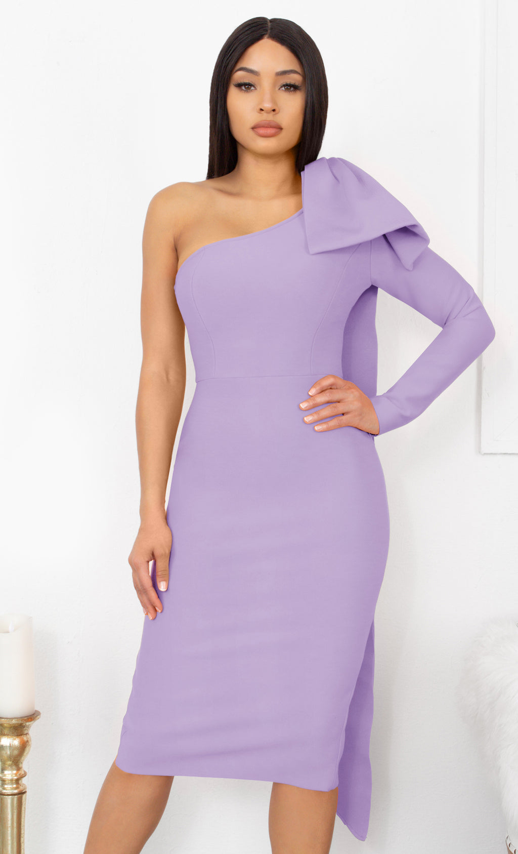 Luckiest Girl Light Purple Bow One Shoulder Long Sleeve Drape Knee Length Bandage Bodycon Midi Dress