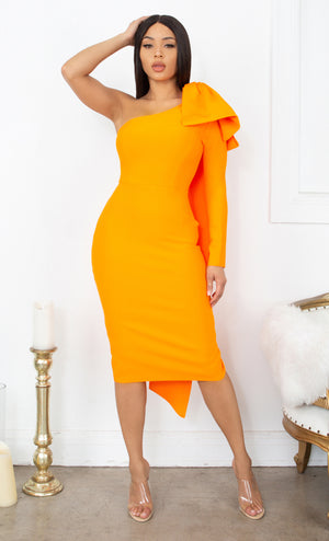 Luckiest Girl White Bow One Shoulder Long Sleeve Drape Knee Length Bandage Bodycon Midi Dress
