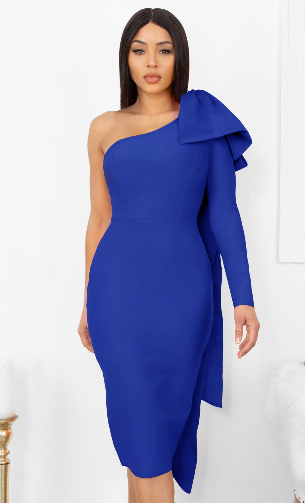 Luckiest Girl Royal Blue Bow One Shoulder Long Sleeve Drape Knee Length Bandage Bodycon Midi Dress