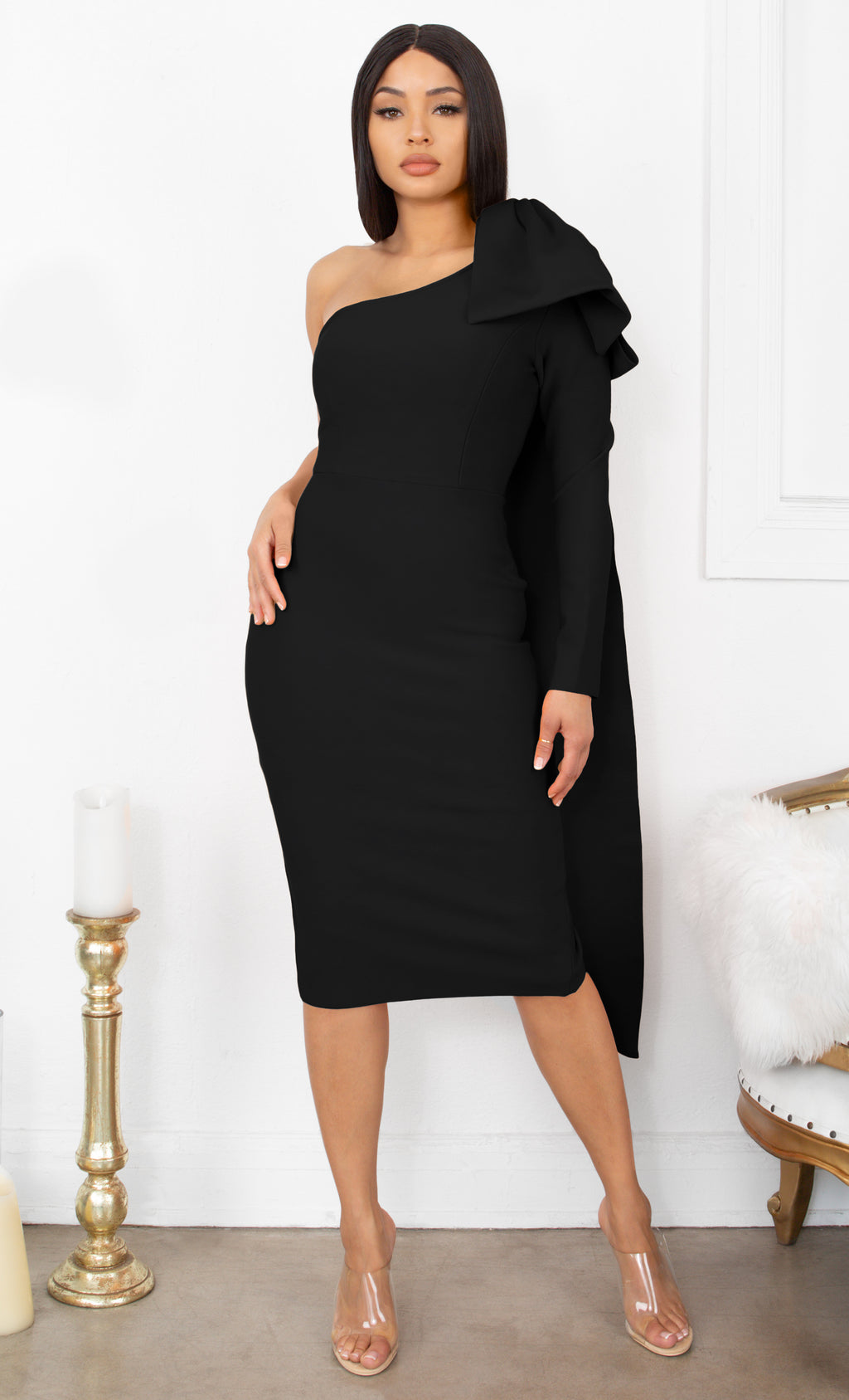 Luckiest Girl Black Bow One Shoulder Long Sleeve Drape Knee Length Bandage Bodycon Midi Dress