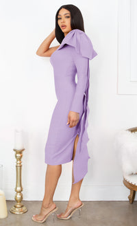 Luckiest Girl Pink Bow One Shoulder Long Sleeve Drape Knee Length Bandage Bodycon Midi Dress