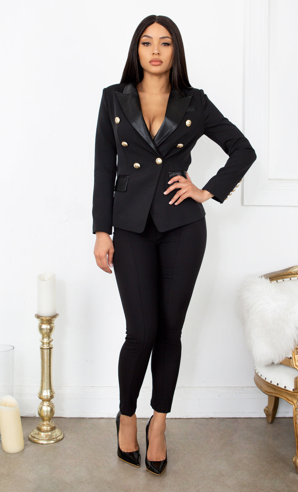 Keeping Focus Faux Leather Lapel Accent Black Gold Button Long Sleeve Blazer Jacket Outerwear