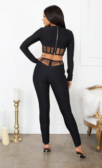 Switching My Positions Black Mesh Cut Out Sheer Long Sleeve Bandage Skinny Leg Long Sleeve Jumpsuit Two Piece Set