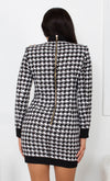 A Lady Never Tells White Black Houndstooth Tweed Long Sleeve Mock Turtle Neck Bodycon Gold Buttons Mini Dress
