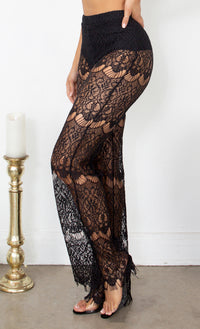Girls Trip Black High Waist Sheer Mesh Eyelash Lace Wide Leg Loose Pants - 2 Colors Available