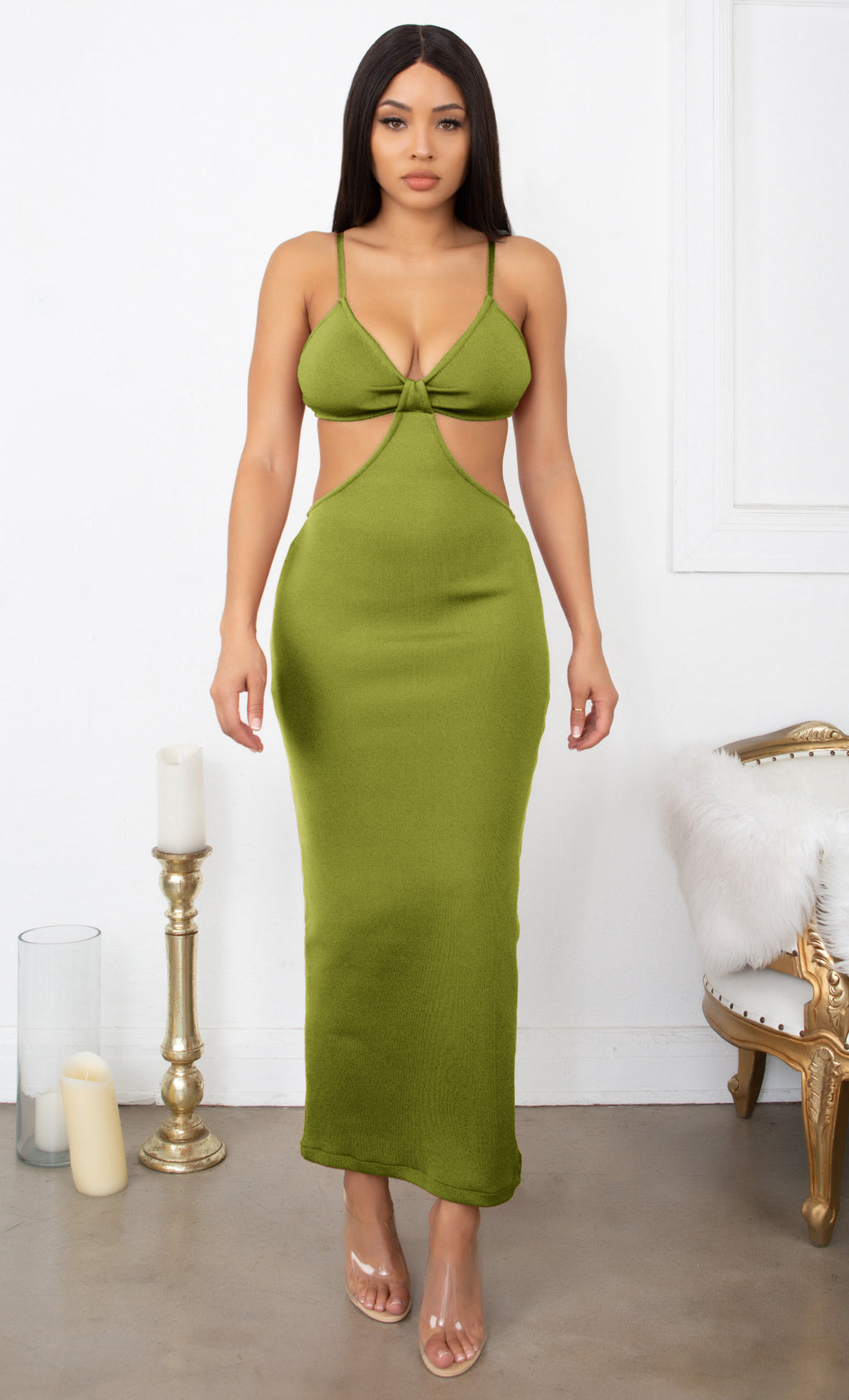 Sultry Nights Green Cut Out Knotted Bandage Spaghetti Strap Sleeveless Maxi Bodycon Dress