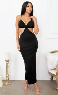 Sultry Nights Black Cut Out Knotted Bandage Spaghetti Strap Sleeveless Maxi Bodycon Dress
