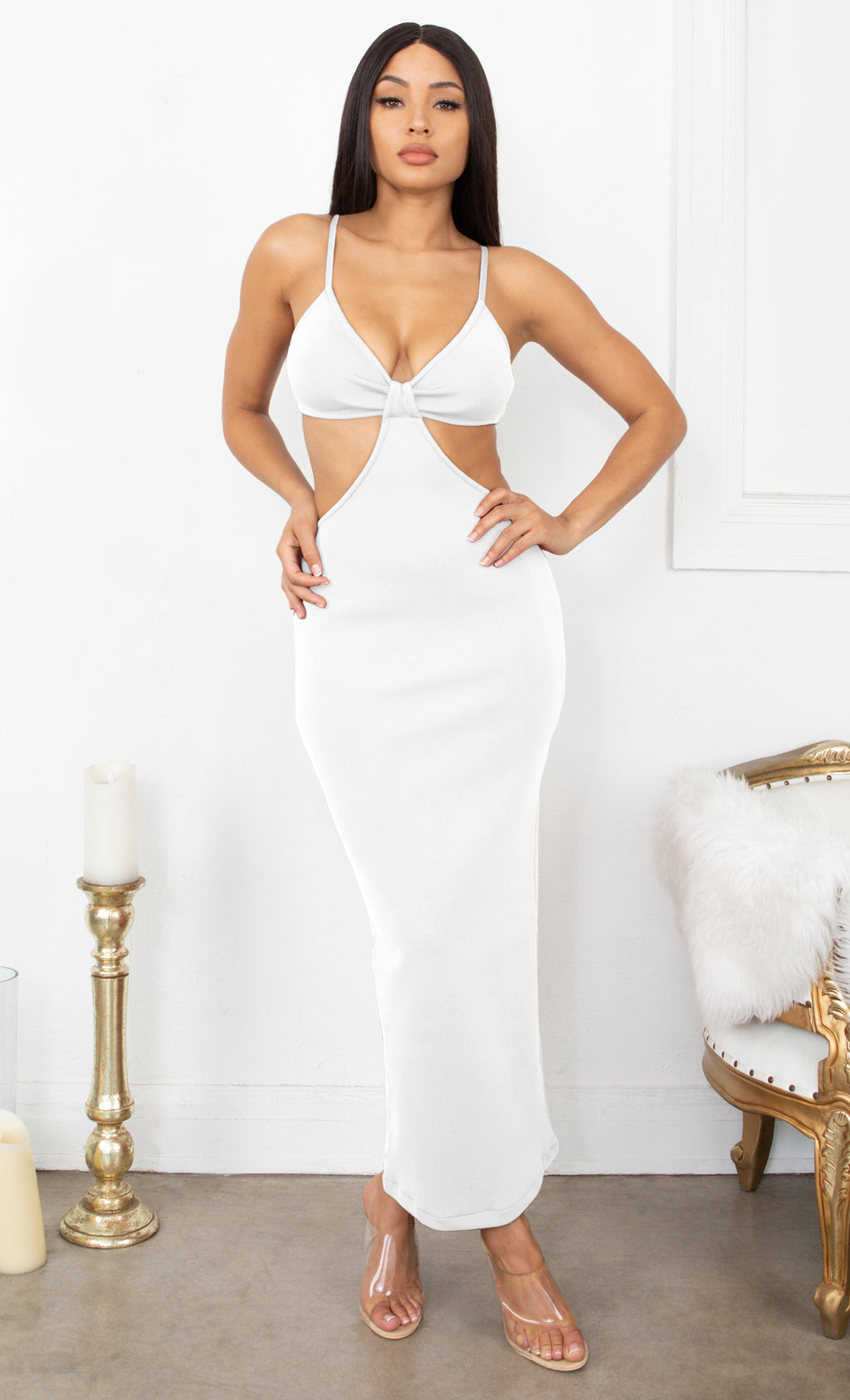 Sultry Nights Cut Out White Knotted Bandage Spaghetti Strap Sleeveless Maxi Bodycon Dress