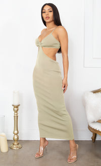 Sultry Nights Cut Out Burnt Rust Orange Knotted Bandage Spaghetti Strap Sleeveless Maxi Bodycon Dress