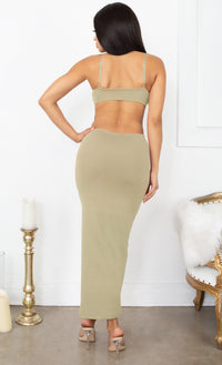 Sultry Nights Cut Out Beige Knotted Bandage Spaghetti Strap Sleeveless Maxi Bodycon Dress
