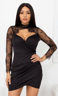 At Your Request Black Sheer Lace Long Sleeve Mock Neck Cut Out V Neck Drape Tulip Bodycon Mini Dress