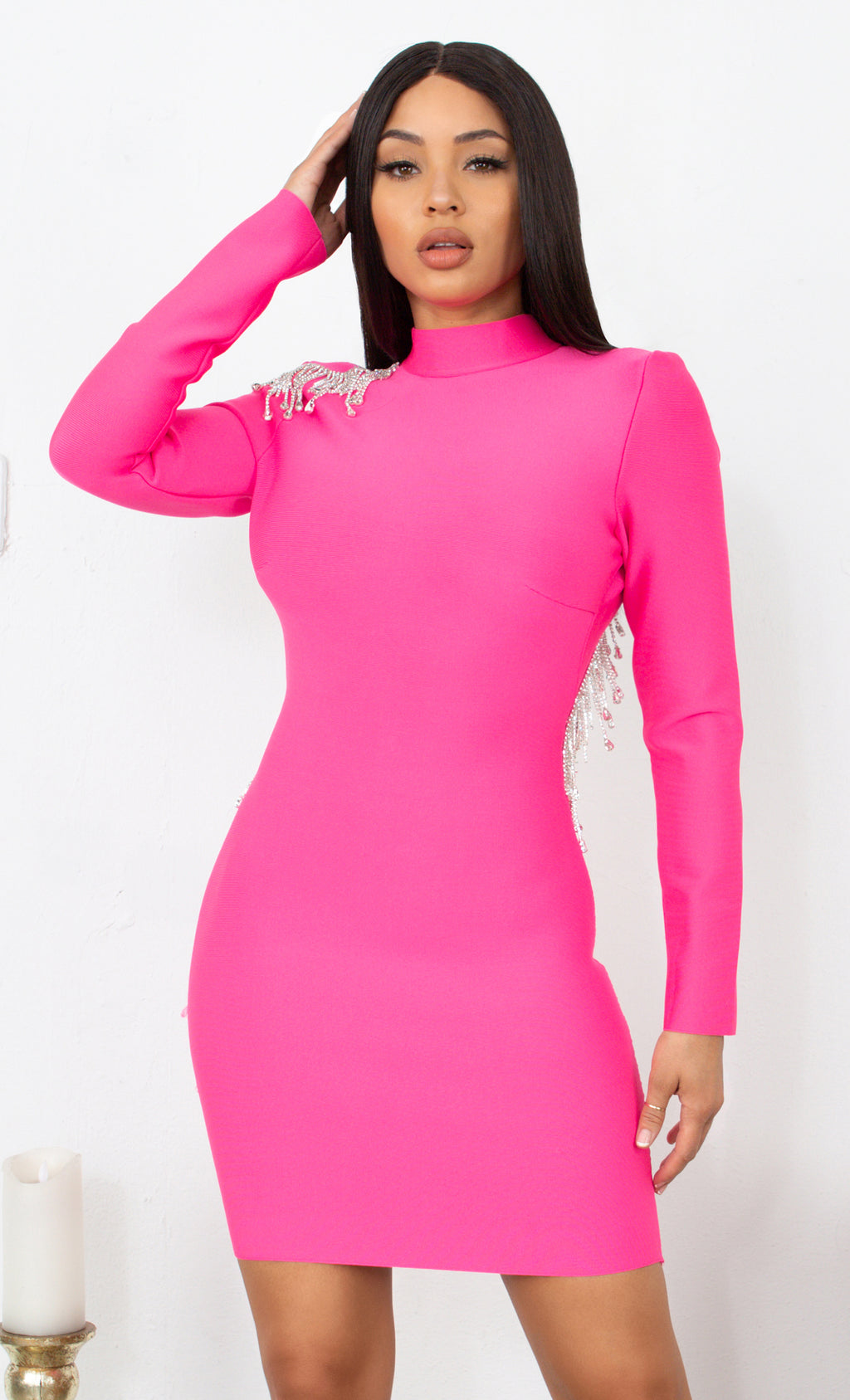 Fatal Attraction Hot Fuchsia Pink Bandage Long Sleeve Cut Out Open Back Rhinestone Fringe Bodycon Mini Dress