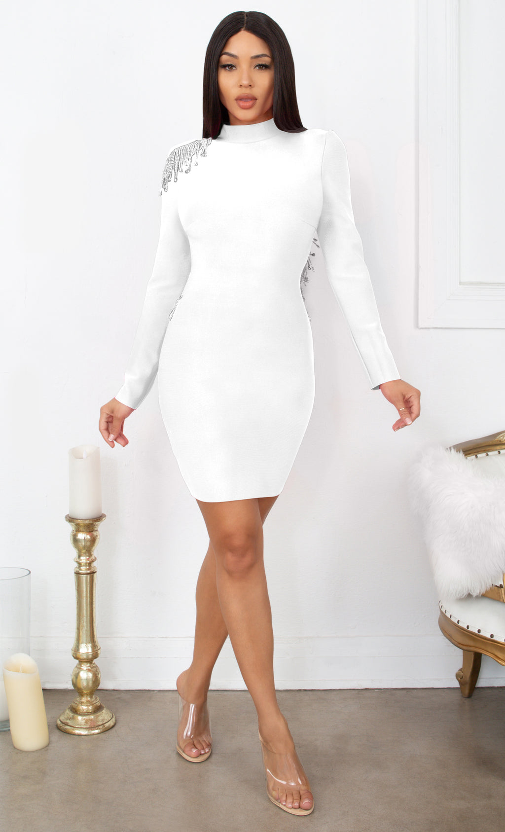Fatal Attraction White Bandage Long Sleeve Cut Out Open Back Rhinestone Fringe Bodycon Mini Dress