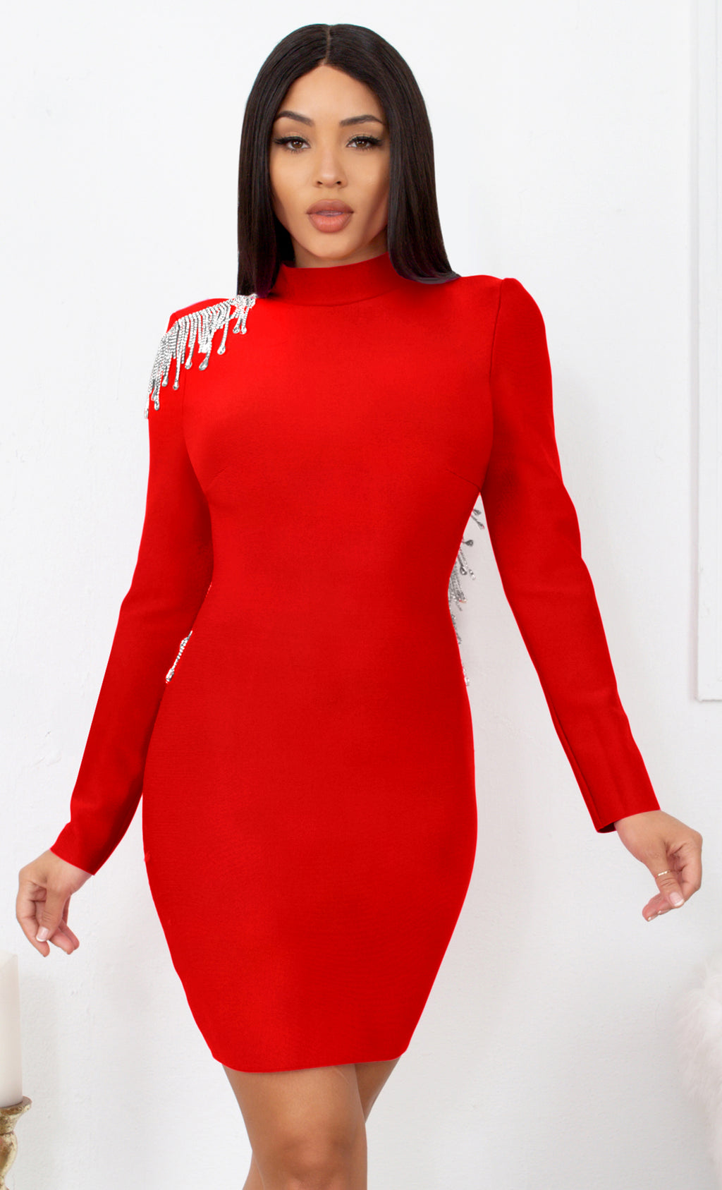 Fatal Attraction Red Bandage Long Sleeve Cut Out Open Back Rhinestone Fringe Bodycon Mini Dress