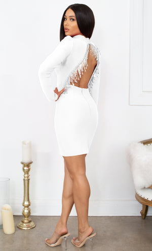 Fatal Attraction Black Bandage Long Sleeve Cut Out Open Back Rhinestone Fringe Bodycon Mini Dress