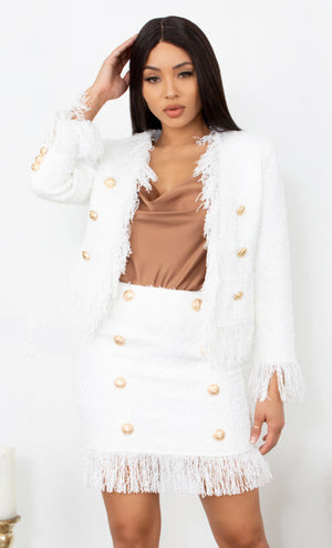 New In Town White Tweed Fringe Tassel Long Sleeve Blazer Jacket Gold Button Two Piece Mini Dress Set