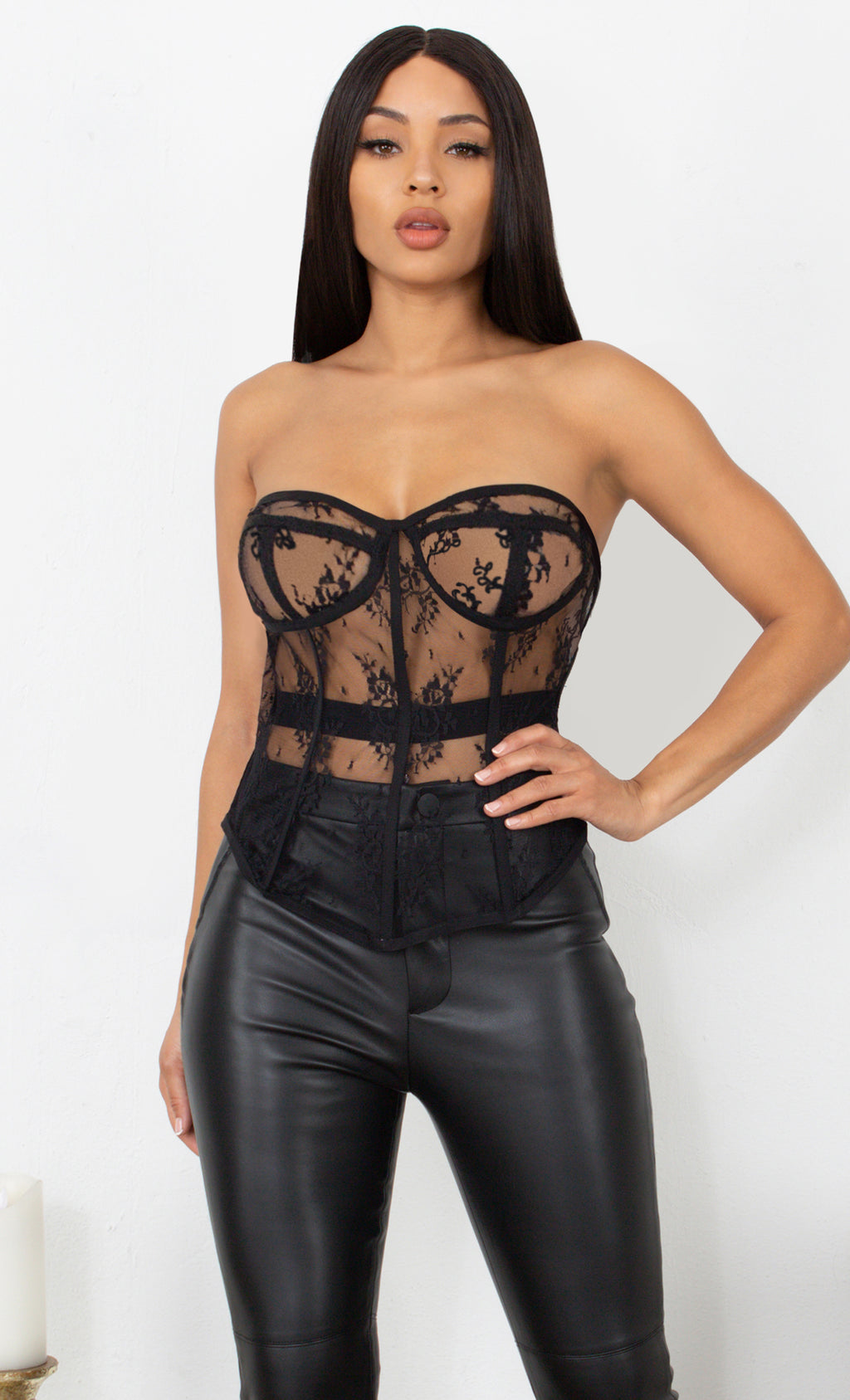 Fierce Female Black Mesh Lace Sheer Strapless Seamed Boned Sweetheart Neck Bustier Top