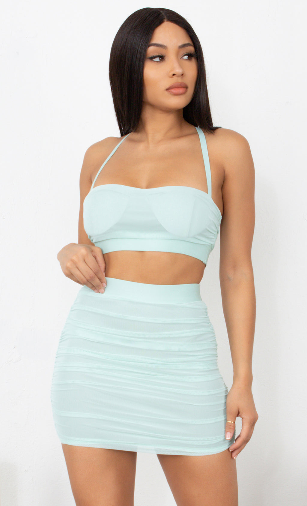 Barely There Light Green Sleeveless Spaghetti Strap Crop Top Ruched Bodycon Mini Skirt Two Piece Dress