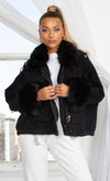 Urban Jungle Faux Sherpa Fleece Trim Long Sleeve Faux Suede Cropped Contrast Denim Jacket Outerwear