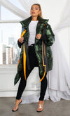Armored Up Green Long Sleeve Down Quilted Oversized Ribbon Trim Asymmetric Puffy Winter Coat Outerwear