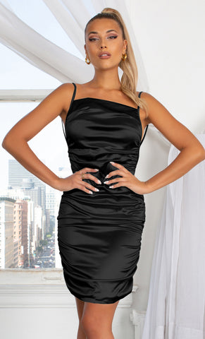Never Giving You Up Black Bandage Strapless Mesh Draped Pointy Neck Ruched Body Con Mini Dress