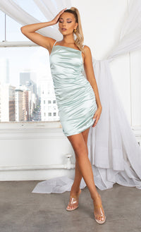 Make You Mine Mint Green Ruched Satin Square Neck Spaghetti Strap Sleeveless Criss Crossed Open Back Mini Bodycon Dress