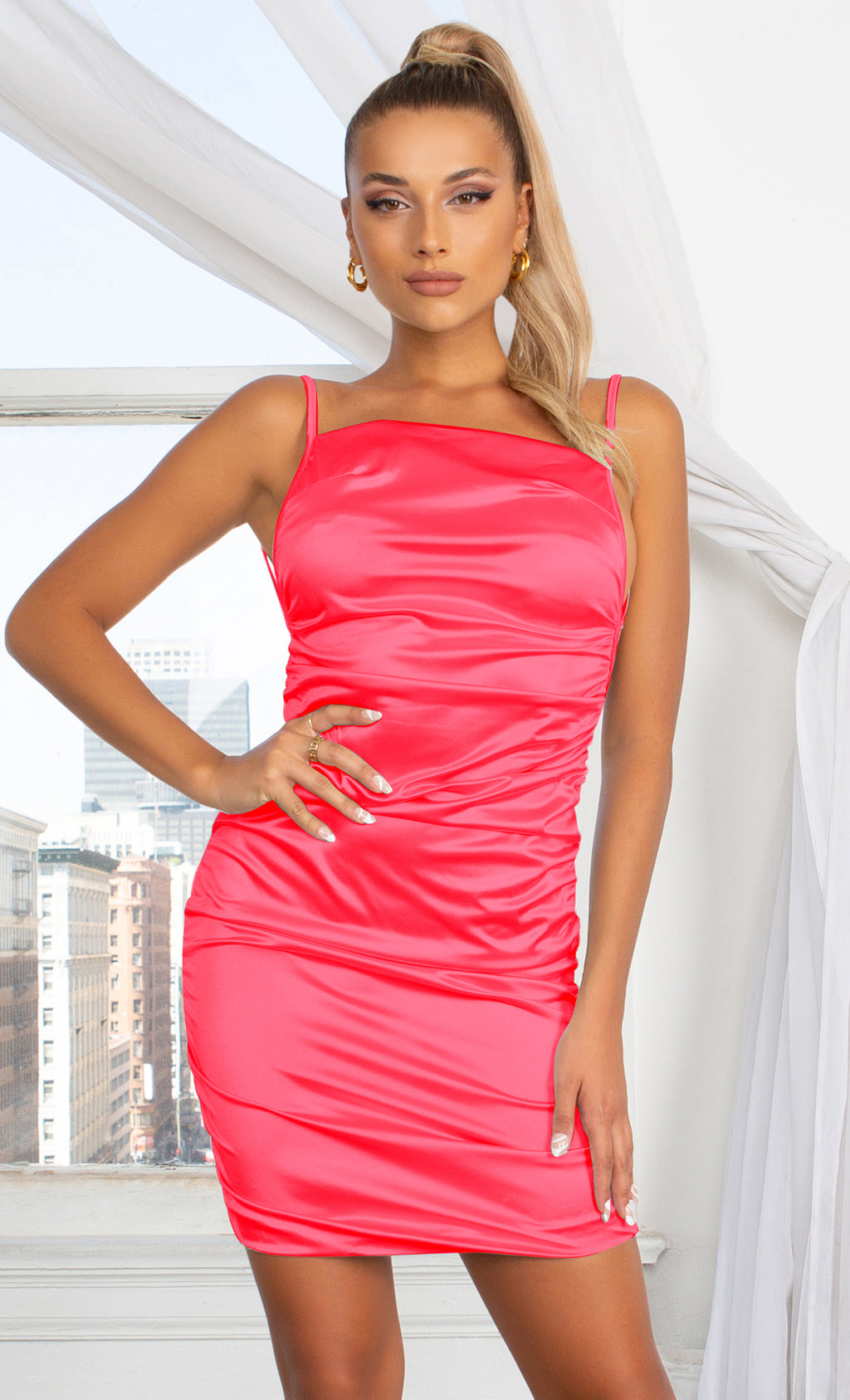 Make You Mine Red Ruched Satin Square Neck Spaghetti Strap Sleeveless Criss Crossed Open Back Mini Bodycon Dress